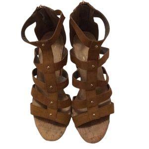 Aerosoles Ankle Strap Cork Sole/Heel Sandal Size 8